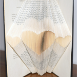 Folded Book Art - Hearts - Love - Gift - Paper Anniversary