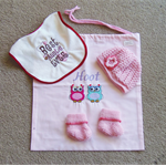 Girl Baby Shower Gift Set - Bag, Hat, Booties & Auntie Bib