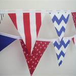 Nautical, Anchor, Red, Blue, Black, White Fabric Bunting, Boy, Nursery, Party