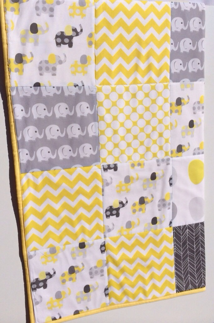 Baby Cot Patchwork Quilt w/ Yellow and Grey Elephant Pattern ... : baby patchwork quilts - Adamdwight.com