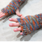 child's fingerless gloves - camouflage orange / soft merino blue grey orange