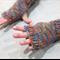 women's fingerless gloves - camouflage orange / soft merino blue grey orange