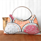 Clutch purse with metal frame, orange, pink and grey