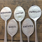 5 VINTAGE HAND STAMPED FLAT SPOON HERB GARDEN MARKERS . RECYCLED SILVER FLATWARE