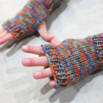 toddler fingerless gloves - camouflage orange / soft merino blue grey orange