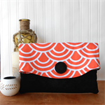 Fold-over clutch purse - orange, white and black
