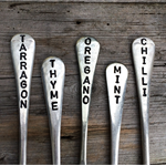 5 VINTAGE SILVER FORK HAND STAMPED & UP-CYCLED GARDEN MARKER GIFT