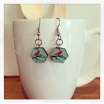 Laser Cut Wooden Drop Bird Earrings