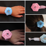 Satin flower on soft elastic