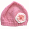 Girls Retro Pink Knitted Wool Beanie Hat with Flower & Buttons Size - Age 2 3 4