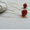 Argentium Sterling Silver range - ruby red bicone Czech glass bead earrings