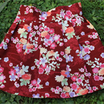 Size 3-4yrs skirt red Japanese floral 100% cotton + free matching hair tie