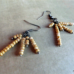 czech rustic brown seed bead dangle cluster earrings, bronze wire