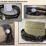 Mans' Morse message wrap bracelet|U choose the leather,4mm beads,& thread colour