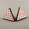 Stud Earrings - Colourful Diamonds on White Wooden Triangles