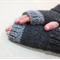 tween fingerless gloves - charcoal and silver grey / soft alpaca hand knit