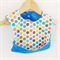 Bucket Scoop Bib - Flannel polka dot . Waterproof.