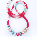 Speckled Egg Ceramic Beads on  Multi colour Kimono Cord Necklace