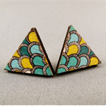 Stud Earrings - Aqua and Yellow Scalloped Wooden Triangles