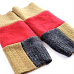 Tubeway Armies Arm Warmers Fingerless Gloves - Mustard, Grey and Red