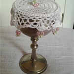Crochet Wine Doily or cup cover - party decoration - White with pale pink beads