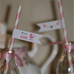 "25 x ""It's a Girl"" - Baby Shower Party Straws"