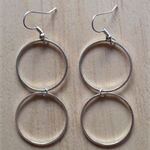 MEDIUM SIMPLE SILVER TWO CIRCLE INFINITY EARRINGS - FREE SHIPPING WORLDWIDE