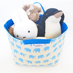 Large Fabric Storage Box / Basket / Tote Bag - Blue Elephant