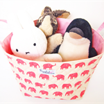 Large Fabric Storage Box / Basket / Tote Bag - Pink Elephant