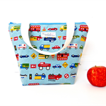 Insulated Tote Lunch Bag with Waterproof Lining - Working Cars (Dusty Blue)