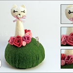 Pretty Kitty pin cushion - made to order. FREE postage.