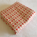 Coral red rabbits modern baby quilt or play rug.