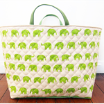 Extra-Large Fabric Storage Box / Basket / Tote Bag - Green Elephant