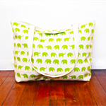 Extra-Large Beach Tote Bag Nappy Bag with a Wet Bag Pocket - Green Elephants