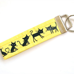 Yellow Kitty Key Chain - Wristlet Fabric Key Fob - Yellow & Black