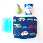 Insulated Snack Bag / Lunch Bag / Baby Bottle Bag - Working Cars (Navy Blue)