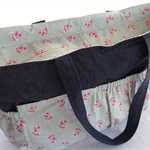 Ready to ship - Large Nappy / Baby / Bag - Indigo Denim and Tilda Rose Fabric