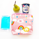 Insulated Snack Bag / Lunch Bag / Baby Bottle Case - Rainbow (Pink)
