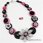 Crazy Daisy - Silver Pink Black White - Stripes - Button Necklace - Earrings