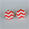 Buy 3 Get 1 Free! Red Chevron Fabric Button Stud Earrings