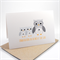 Baby Twins Card - Grey and Yellow Owls - BBYTWN012