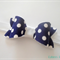Navy dot felt bow stretch headband
