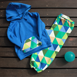 Size 3 Green and Blue triangle pants set