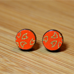 Japanese Hanami Round Studs - Orange/Gold