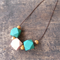 *New Colours* Teal Green and Salmon Pink Geometric Wooden Bead Necklace