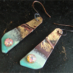 Golden Galaxy - enameled copper with vintage faux opal cabochon & gold leaf