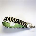Wrist Key Fob - Black & natural oatmeal stripes with big polka dots