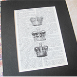 SALE Royal Crowns Art Print Coronet Vintage Dictionary Pag Royalty