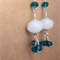 Earrings -  white opaque faceted crystal, 3 wire wrapped blue crystal
