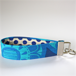 Wrist Key Fob - Bright Blue flower pops with royal polka dots.